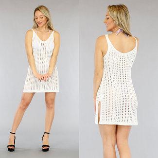 NEW1905 Weiß häkeln Vertuschung-Kleid Slits