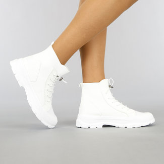 NEW1905 Hohe Socke weißen Turnschuhe mit elastischem Verschluss