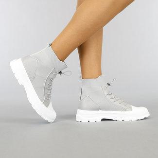 NEW1905 Hohe Socken Grau Turnschuhe mit elastischem Verschluss