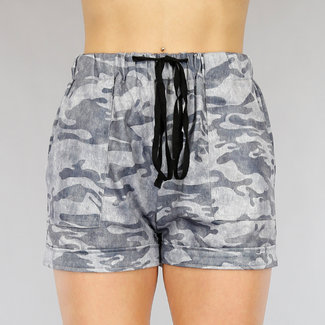 NEW1905 Bequeme graue Camouflage Shorts mit Taschen