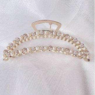 NEW2605 Champagne Haarspange mit Perlen und Strass
