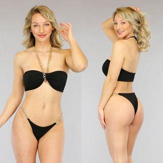 NEW2605 Schwarz Bandeau Bikini Ketten-Details