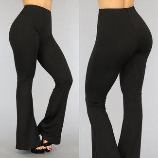 NEW2605 Schwarzes elastisches Flair Hose mit breiten Rohren