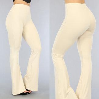 Beige Elastic Flair Hose mit breiten Rohren