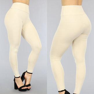 Beige elastische hohe Taille Legging