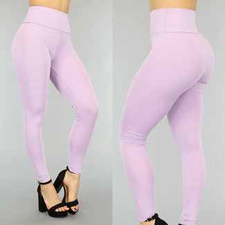 Lila elastische hohe Taille Legging