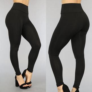 Schwarz-elastische hohe Taille Legging