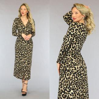 NEW2605 Lange Leopard-Kleid mit Split