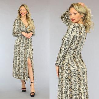 NEW2605 Lange Schlangen-Kleid mit Split