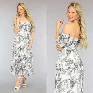 NEW2605 Weiß Off-Shoulder-Kleid mit schwarzem Tierdruck