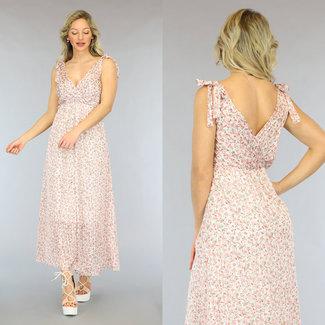 NEW2605 Pink Flower Maxi Kleid mit Glitzer