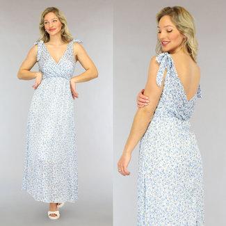 NEW2605 Blaue Blumen-Maxi Kleid mit Glitzer