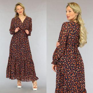 NEW2605 Dunkle Maxi-Kleid mit orange Blumen