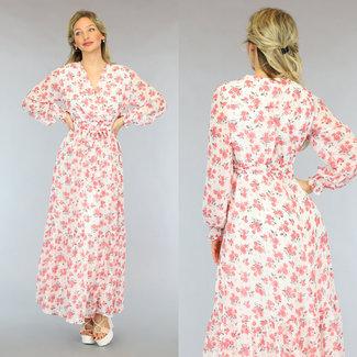 NEW2605 Weiß Maxi-Kleid mit rosa Blumen