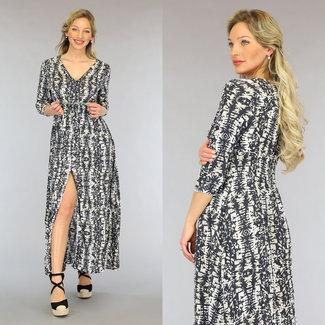 NEW2605 Anthrazit Print Maxi-Kleid mit Knöpfen
