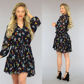NEW2605 Schwarz Chiffon-Kleid mit Blumenmuster