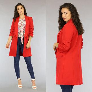 NEW0206 Roter Blazer mit langen Ärmeln plissiert