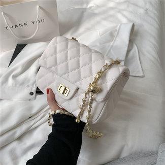 Look Schultertasche aus Leder mit goldenen Details