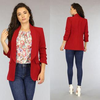 NEW0206 Roter Blazer mit Plissee Dreiviertel Ärmel