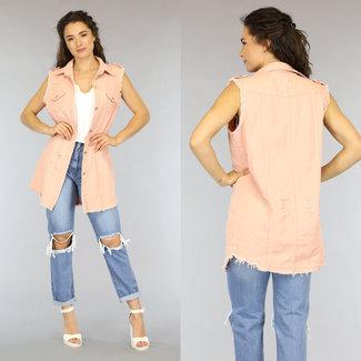 Lange Maxi-Hellrosa Jeans Weste Holes