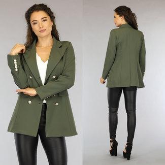 NEW0206 Grüne Langarm-Blazer mit Knöpfen