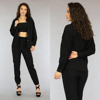 Zweiteilige schwarzer Anzug mit Los Fit Bluse