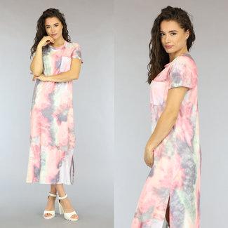 NEW0206 Pastel Tie Dye Maxi-Kleid mit Doppel Split