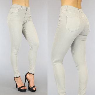 NEW0206 Hellgrau mit hohen Taille Jeans