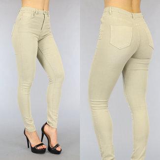 NEW0206 Beige Stretchy High Waist Jeans