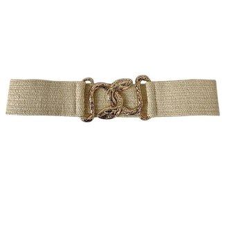 NEW0206 Beige elastischer Gürtel mit Schlauch Closure