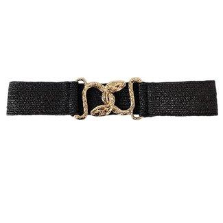 NEW0206 Schwarz elastischer Gürtel mit Schlauch Closure