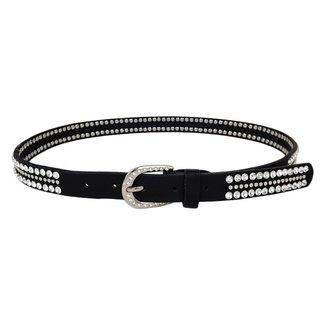 NEW0206 Schwarz-Leder-Blick-Gürtel mit Nieten und Strass