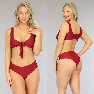 NEW0906 Bordeaux mit hohen Taille Bikini-Bogen