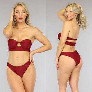 NEW0906 Wine Red Push-Up Bandeau Bikini