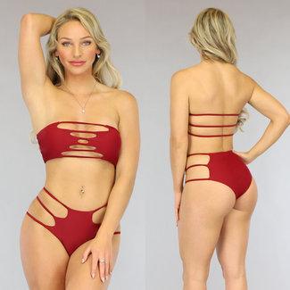 NEW0906 Sexy Wine Red Bandeau Bikini mit Riemchen