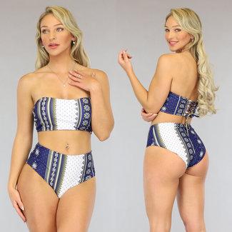 Blau High Waist Multi Print Bandeau-Bikini