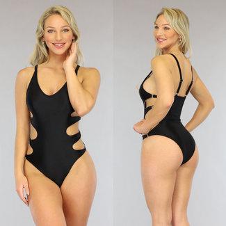 NEW0906 Riemchen schwarzen Badeanzug mit Cut-Outs