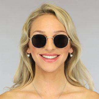 NEW0906 Gold Runde Sonnenbrille mit schwarzem Glas
