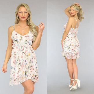 NEW0906 Chiffon Blumendruck-Kleid mit Bund