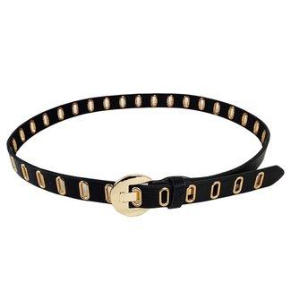 NEW0906 Schwarz-Leder-Blick-Gürtel mit Goldringen