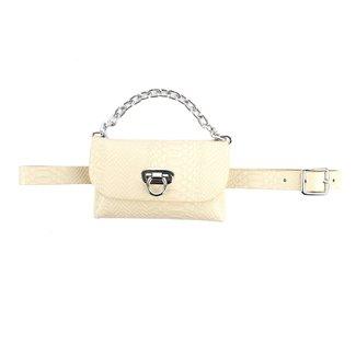 NEW0906 Beige Croco-Leder-Blick Hüfttasche