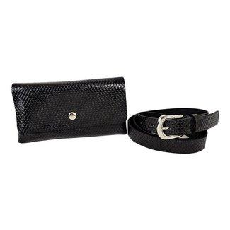 NEW0906 Schwarz-Leder-Blick Hüfttasche mit Relief «f