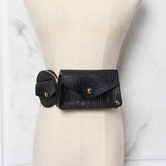 NEW0906 Schwarz Doppel Kroko Hüfttasche