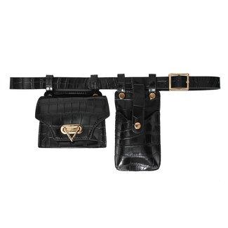 NEW0906 Croco schwarze Gürteltasche mit Handytasche