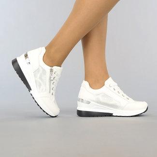 NEW1106 Weiß Wedge Sneakers mit Glitzer-Details und Zipper