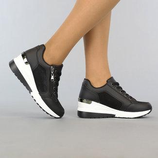 NEW1106 Schwarz-Keil-Sneakers mit Glitzer-Details und Zipper
