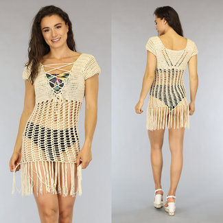 Beige Crochet Vertuschung-Kleid mit Fransen