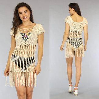 NEW1606 Beige Crochet Vertuschung-Kleid mit Fransen