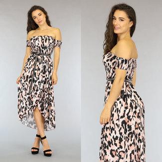 NEW1606 Strapless rosa Leopard Mullet Kleid