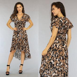 NEW1606 Camel Leopard Mullet Kleid mit Bund